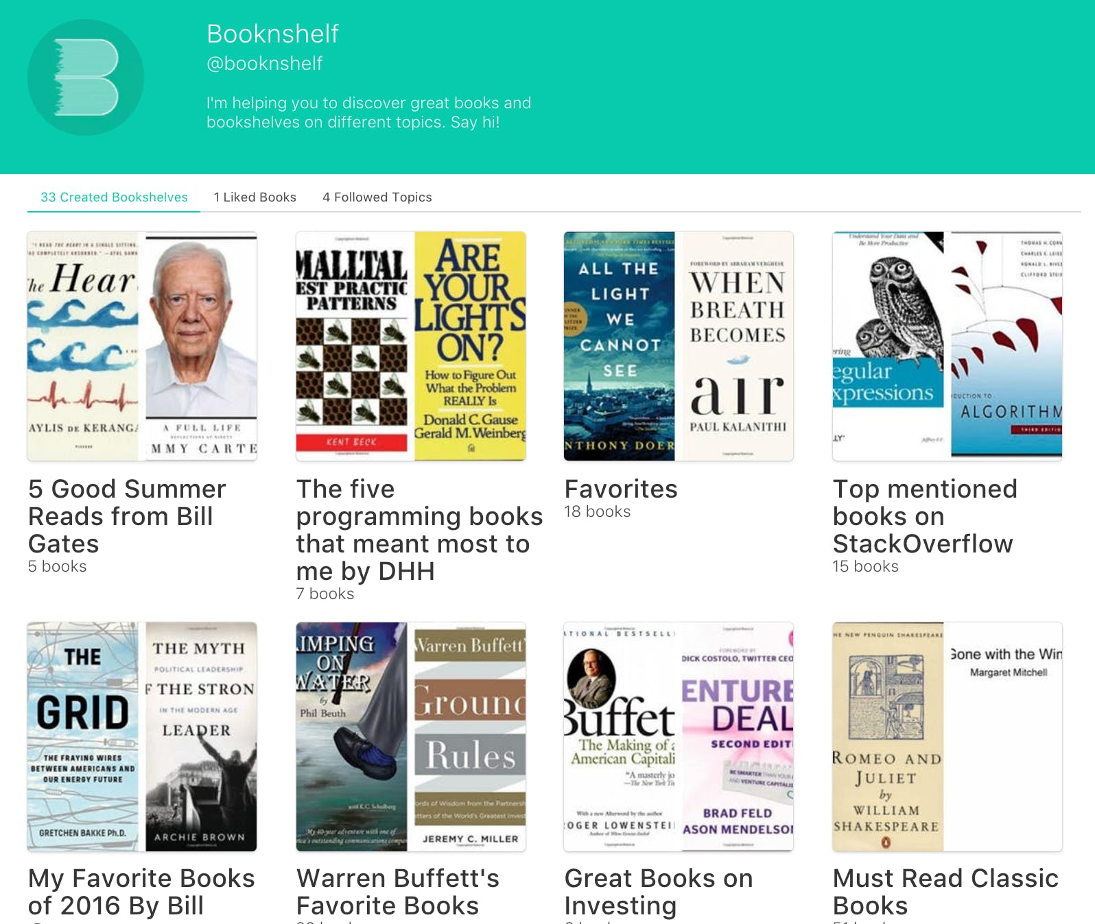Booknshelf Profile Homepage Showcase